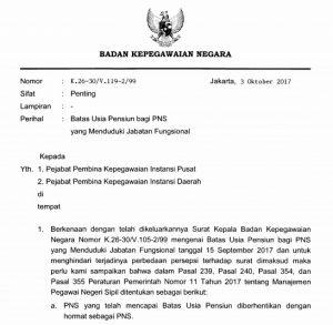 Surat Kepala BKN tentang Batas Usia Pensiun PNS 2019