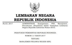 Download PP Nomor 11 Tahun 2017 tentang Manajemen PNS