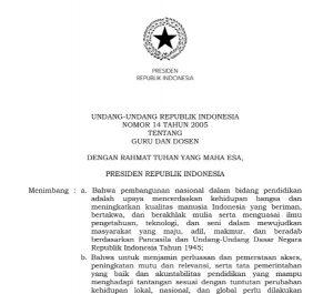 Download Undang-Undang Nomor 14 Tahun 2005 tentang Guru dan Dosen