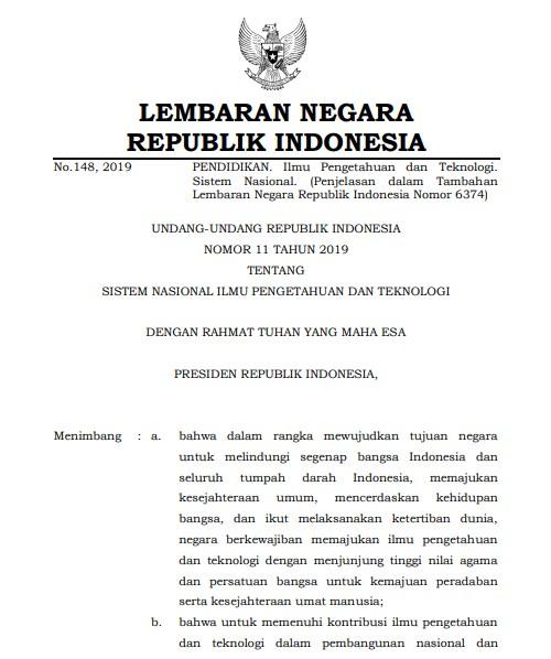 Undang-Undang Nomor 11 Tahun 2019 tentang Sistem Nasional IPTEK