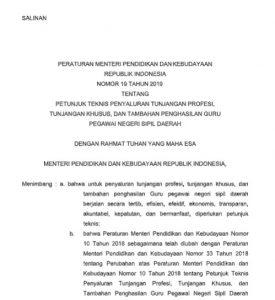 Permendikbud Nomor 19 Tahun 2019 tentang TPG